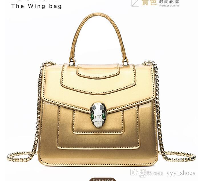 Fashion designer women Bags Shoulder Bag Cross Body Flap handbags Clutch bag totes high quality Snake head Patent leather bags