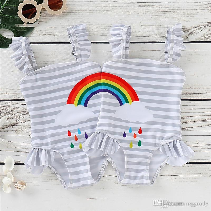 INS Little Girls Swimwear Rainbow Belt Ruffles Gray Stripes Swimming Clothing Outfits Designer Kids Girls Swim Bikini Outfits 0-5T