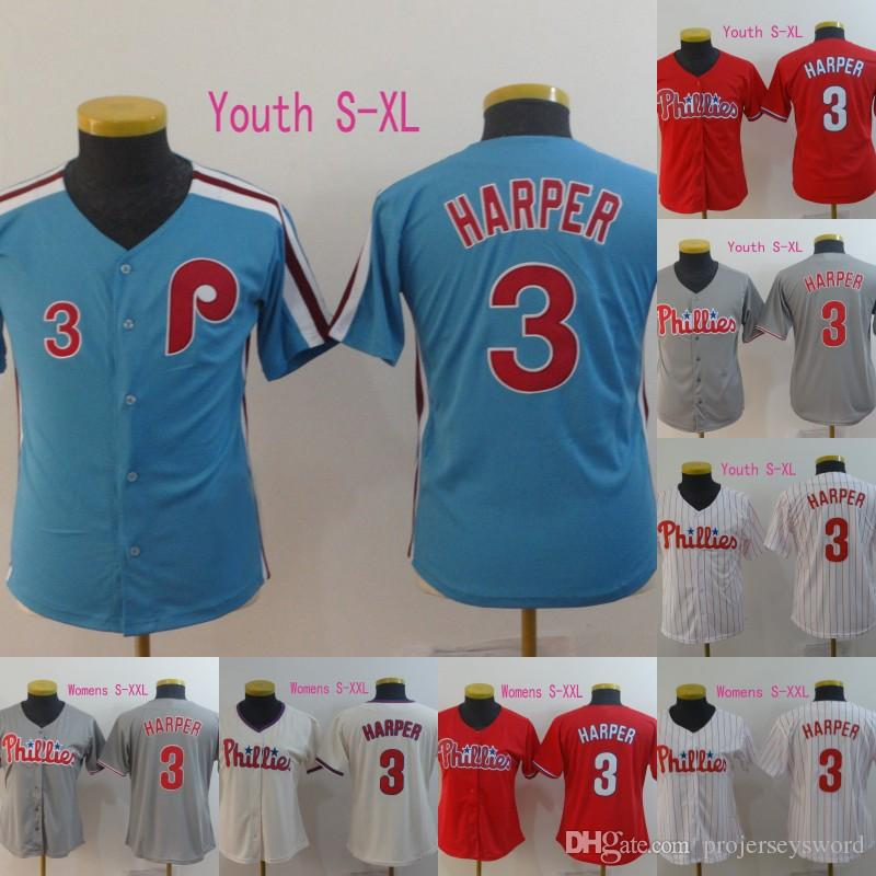 brand new fbbca 24905 2019 Womens And Youth Philadelphia Jersey 3 Bryce Harper Cool Base Retro  All Stitched Phillies Baseball Jerseys Cheap Fast Shipping S XXL From ...