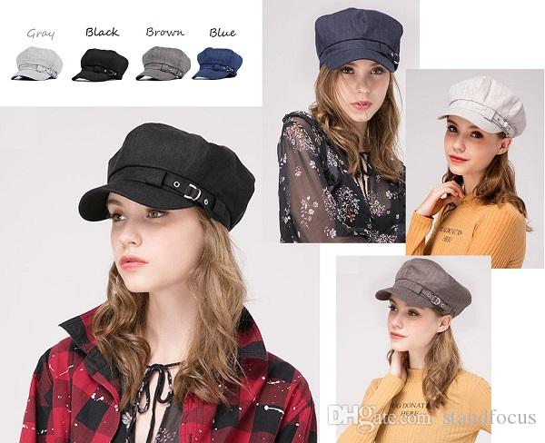 Stand Focus Baker Boy Cabbie Gatsby Women Hat Newsboy Cap Ladies Fashion Cotton Linen Herringbone Fabric Spring Summer Fall Bucket 4 colors