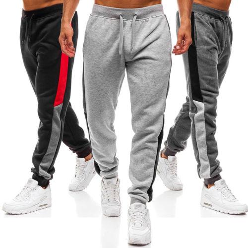 ed6fe8212b NEW Men s Track Pants Slim Cuff Trousers Sport Tracksuit Plain Black Grey  Men Solid Cotton Casual Long Pants Male Clothing