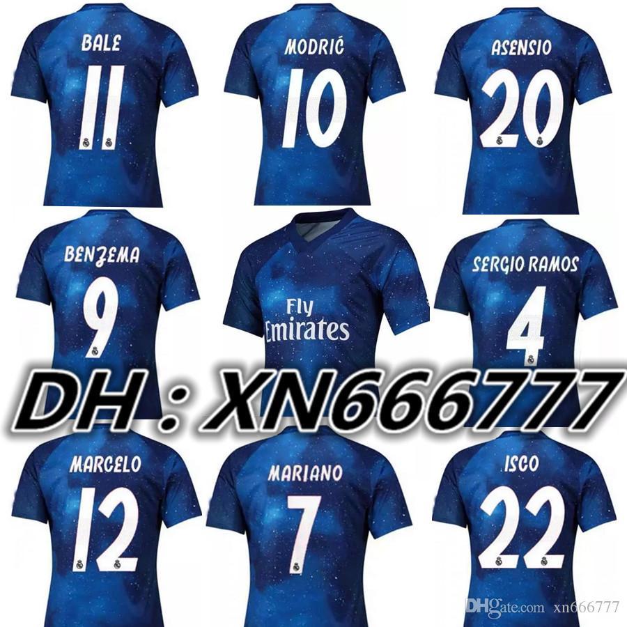 1a567e4885d3e EA Sports Real Madrid Azul 2019 RAMOS ASENSIO MODRIC ISCO BALE Camisetas De  Fútbol 2020 Camisetas De Fútbol Camisetas Maillot Juego De Recuerdo Versión  Por ...