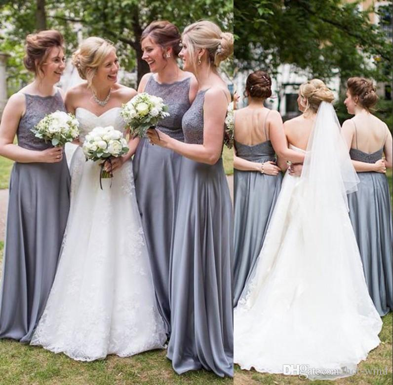 Gray Cheap Country Style Lace Bridesmaid Dresses 2019 Lace Top A Line  Chiffon Sexy Backless Maid Of Honor Gowns Wedding Party Dress BM0336 Formal  Gowns Gold ... 0438448f5b82