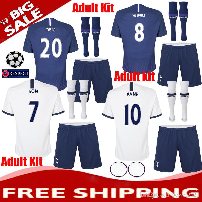 info for 44ec4 27f93 TOP 2019 2020 Tottenhames Adult Kit Home away Soccer Jersey Shorts Socks 19  20 Spurs KANE LAMELA ERIKSEN DELE SON Away Football shirt