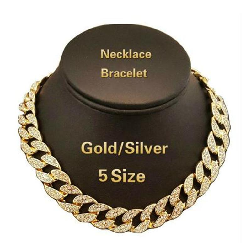 2019 Iced Out Bling Rhinestone Crystal Gold Finish Miami Cuban Link Chain  Men S Hip Hop Necklace Jewelry 18 81b6f867e629