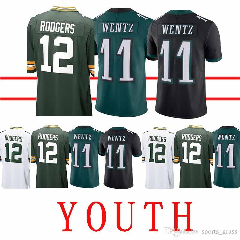 watch 5c522 6d319 YOUTH Philadelphia Eagle Jersey 11 Carson Wentz Green Bays Packer 12 Aaron  Rodgers Jerseys Top quality Free Shipping