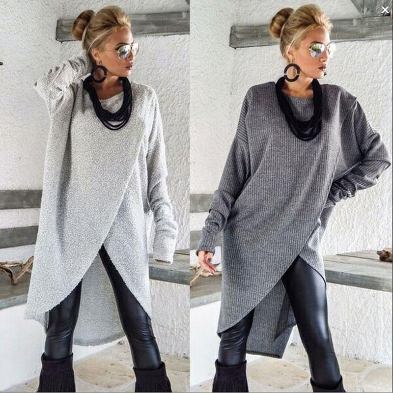 Casual Women Knitted Long Shirt Front Cross Loose Long Sleeve T Shirt Ladies Solid Jumper Pullover Tops
