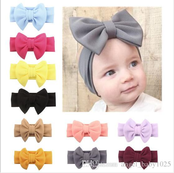 10piece/lot Hot New European and American spring children's wide hair with baby cotton bow headband