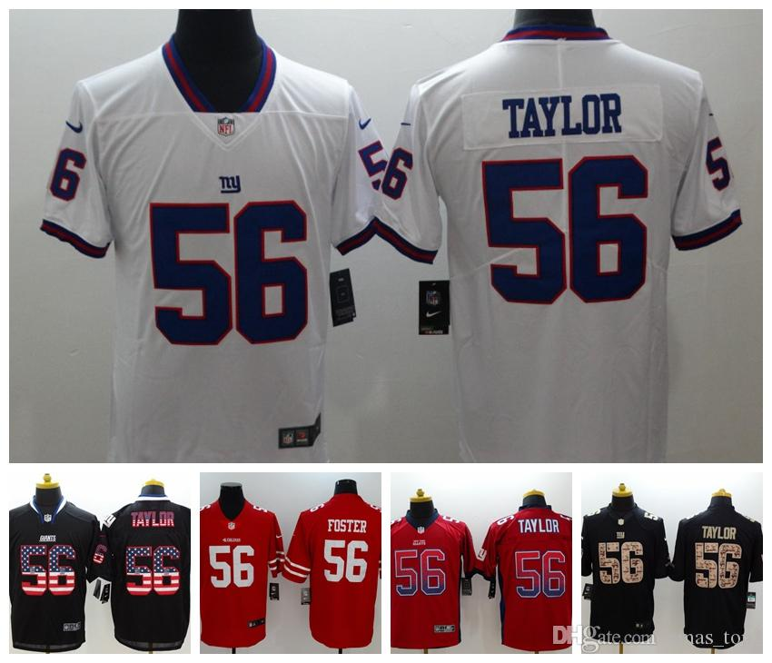 free shipping e24fe 0c70a Mens 56 Lawrence Taylor Jersey New York Giants Football Jersey 100%  Stitched Embroidery Giants Lawrence Taylor Color Rush Football Shirts