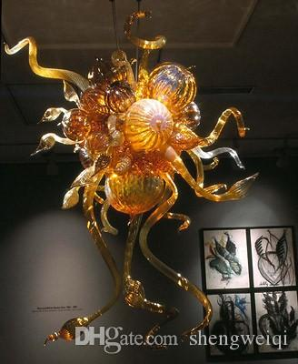 Custom Made Blown Murano Glass Chandelier Hotel Decor Modern Crystal Colored Artistic Glass Lamps with LED Bubbles