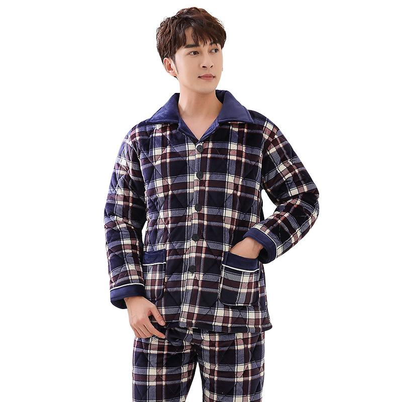 4d0e13c084 2019 Three Layer Thick Winter Quilted Pajamas Nightshirt Coral Velvet  Pijamas Hombre Inverno Mens Plaid Male Jacket Plus Size Suit3XL From  Redbud06