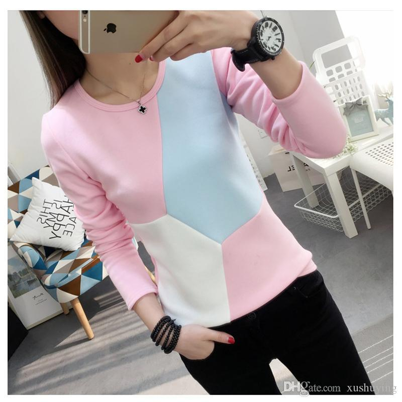2017 Nouveau Automne Hiver Femmes T-shirt coréenne Kawaii femmes Hauts Thicken Réchauffez talonnage Shirt Casual vétements Velour Survêtement