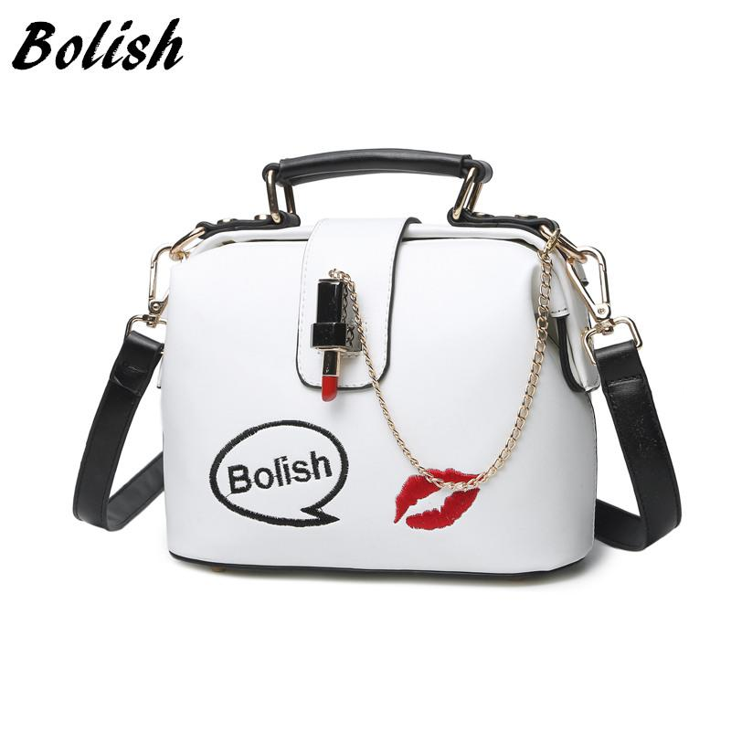 Bolish New Korean All-match Lipstick Lock Doctor femal a Bag PU Leather Shoulder Bag Small Top-Handbag Fashion Crossbody Bag