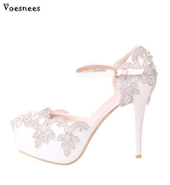 b3973fdfc71d 2018 Women Bridal Wedding Shoes Platform High Heel White Crystal Bride  Bridesmaid Ladies Prom Pumps Princess Dress Shoes Women Flat Sandals  Strappy Sandals ...