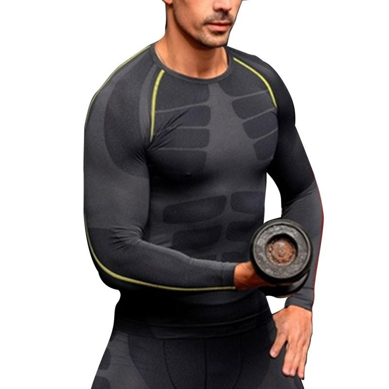 New Stylish Men Compression Base Layer Long Sleeve Sports Gear Shirts Fitness GYM Tops M-XL