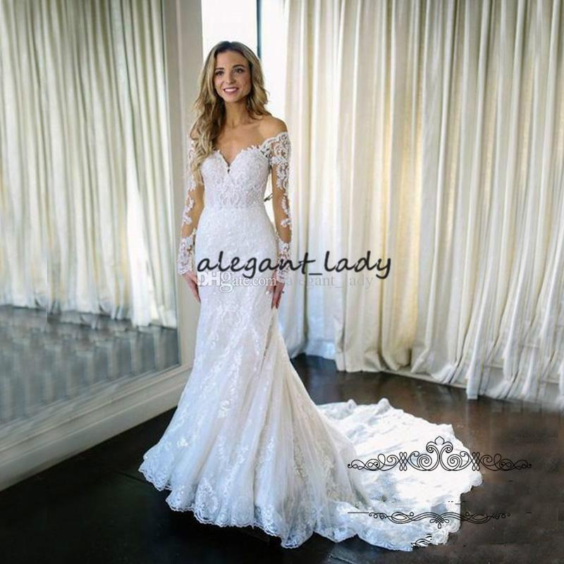 Long Sleeve Mermaid Wedding Dress Bridal Gown 2019 V-neck Full Lace Applique Trumpet Castle Church Sweep Train Wedding Dresses