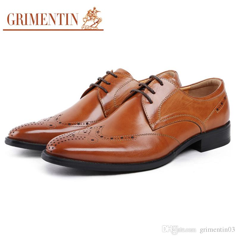 9535b1d53e27 GRIMENTIN Hot Sale Mens Dress Shoes Italian Fashion Men Oxford Shoes 100%  Genuine Leather Brown Formal Business Wedding Mens Shoes S White Mountain  Shoes ...