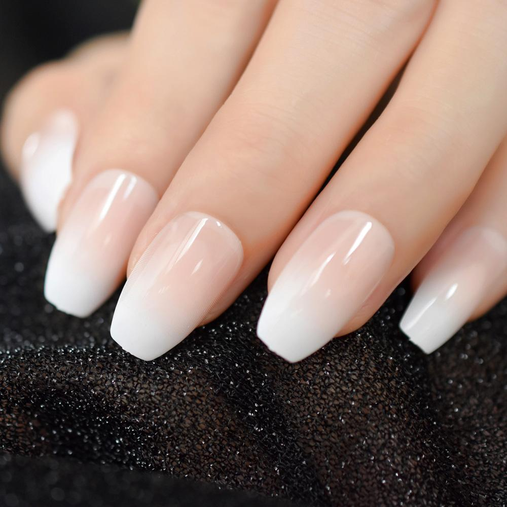 Pink Nude White French Ballerina Coffin False Nails Gradient Natural ...