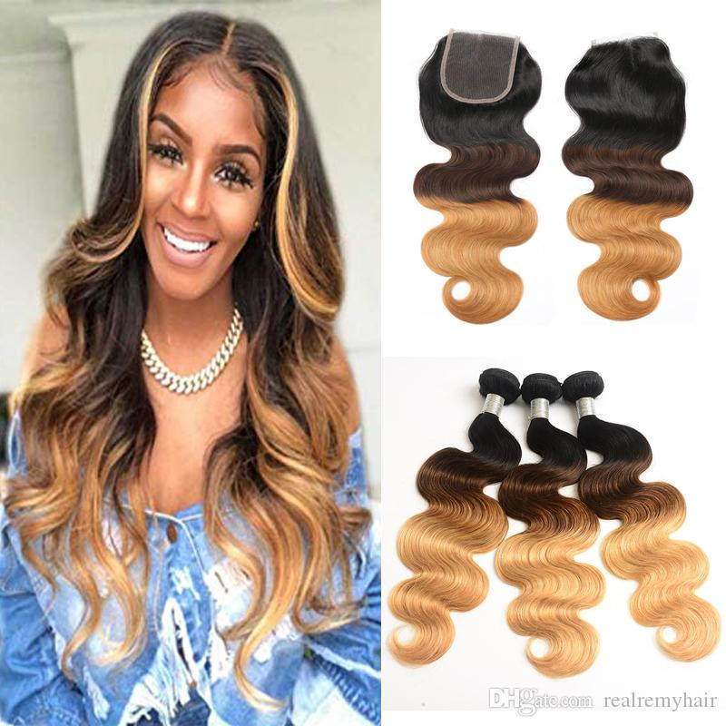 Ombre 1B/4/27 Human Hair Bundles With Closure Brazilian Virgin Hair Body Wave 3 Bundles With Closure Weave Hair For Black Women