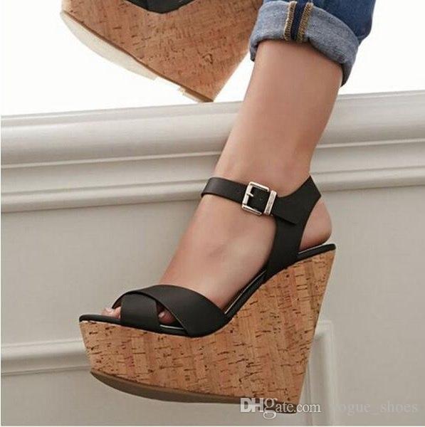ebd3d849b43 Ladies Wedge Sandals Cut Out Black Leather High Platform Women Wedge  Sandals Casual Dress Shoes Plus Size 47 2019 NEW Design High Heel Shoes  Wholesale Shoes ...