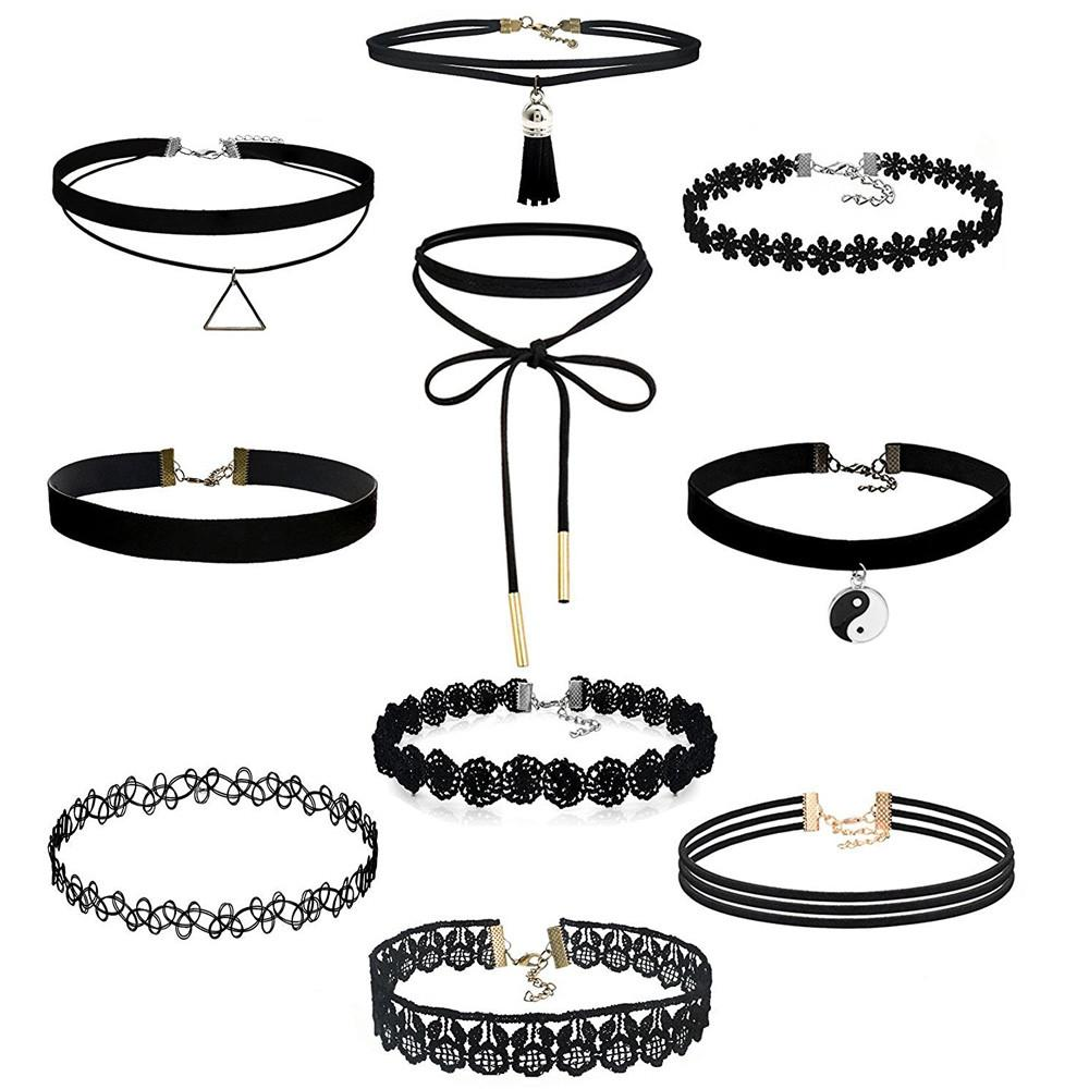 10 Pcs set Women Black Rope Choker Necklace Stretch Gothic Lace Halloween//Party