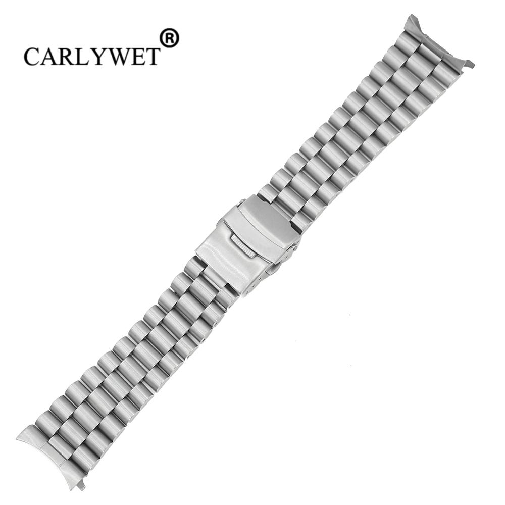 CARLYWET 20 22mm Silver Hollow Curved End Solid Links Replacement Watch Band Strap Bracelet Double Push Clasp For