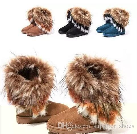 5c70195579 2019 Hot sale Warm and comfortable winter fur boots imitation fox wool  rabbit hair boots Female in tube of cotton boots Warm cotton shoes