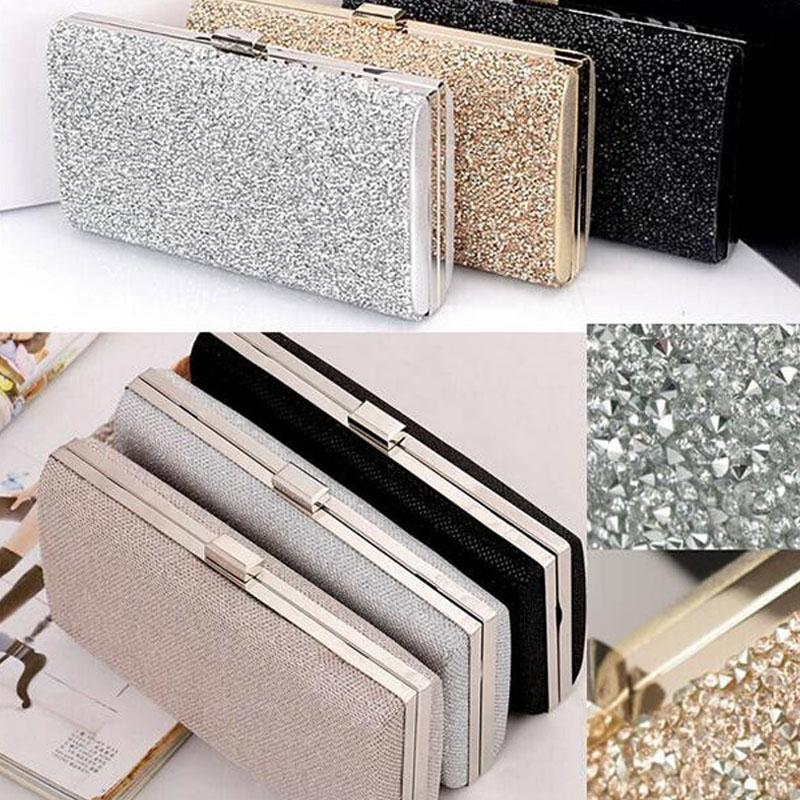 Women Evening Clutch Bag Diamond Sequin Clutch Female Crystal Day Clutch Wedding Purse Party Banquet Black/Gold Silver Two Chain SH190918