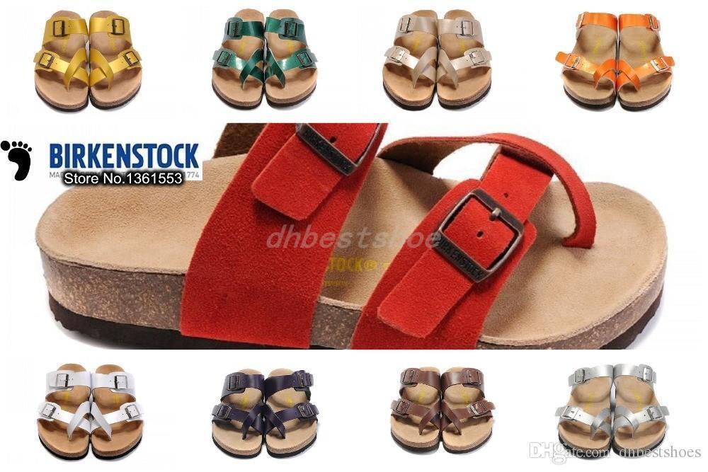 33c46fc73a Birkenstock Fashion Mens Sandals Flip Flops Summer Beach, Platform Genuine  Leather Home Slippers 100% High Quality Free Shipping