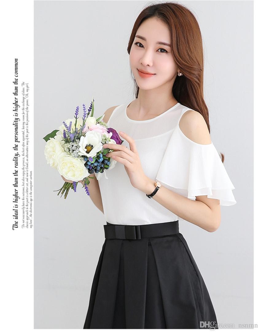 a2a1aadd82fd13 Satın Al Kadın Gündelik Kapalı Omuz Flounces Gömlek Şifon Beyaz Bluzlar  Kadın Bluzlar Tops Kadınlar Bluas Bluz Gömlek 896B