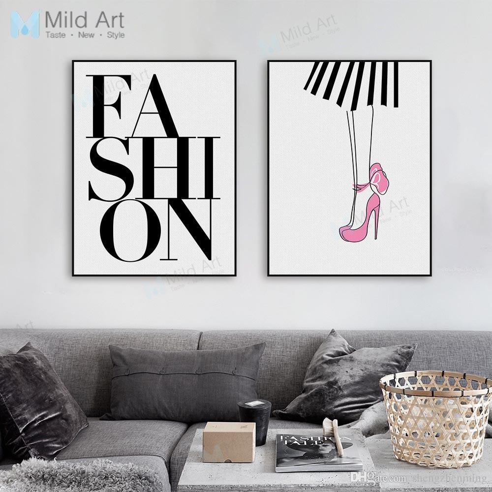 77fe20ace9 Acquista Moda Moderna Ragazza Tipografia Lettera Poster Stampe Grande  Minimalista Bellezza Parete Foto Room Home Decor Dipinti Su Tela  Personalizzata A ...