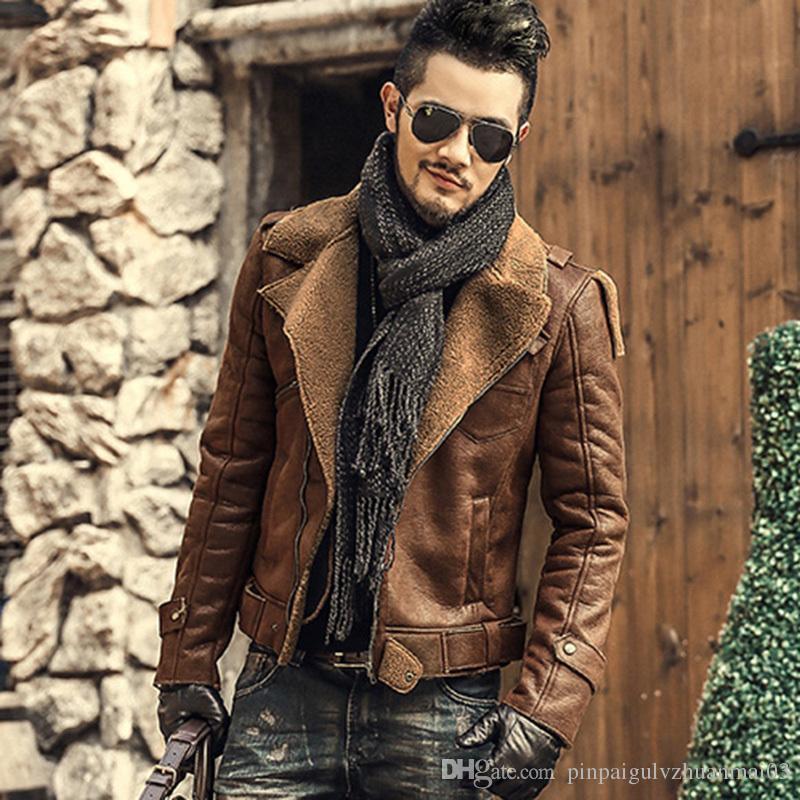 b40ed3e8320 Faux Leather Jackets Men Fur Coats Thick Warm Motorcycle Biker Jacket  Metrosexual Men Slim Cotton Winter Brand Woolen Jacket New Shop Jackets  Outerwear ...