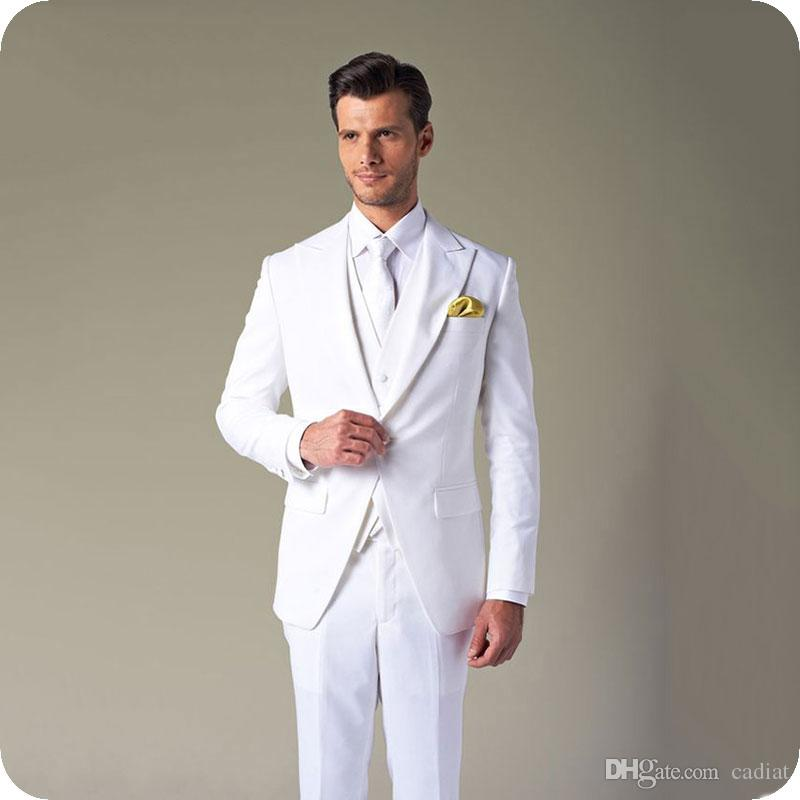 Acheter Custom Made Blanc Hommes Costumes Pour Mariage Slim Fit Groom  Porter Costume Lapins Garçons Tuxedos Costumes Meilleur Homme Blazers 3  Pièce Costume ... 0f6e3a73066