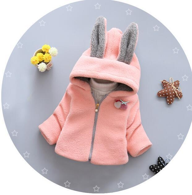 0cf96332321ef Acheter 2018 Automne Hiver Manteaux Survêtement Rose Solide Manteau Chaud Bébé  Fille Vestes Filles Animal Oreilles De Lapin Coton Enfants Pour 1 2 Ans De  ...