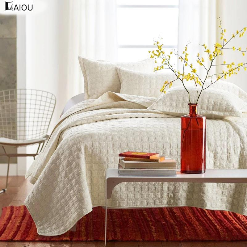 Aiou Ivory White King Size Bedspread Coverlet Comforter Cotton Quilt
