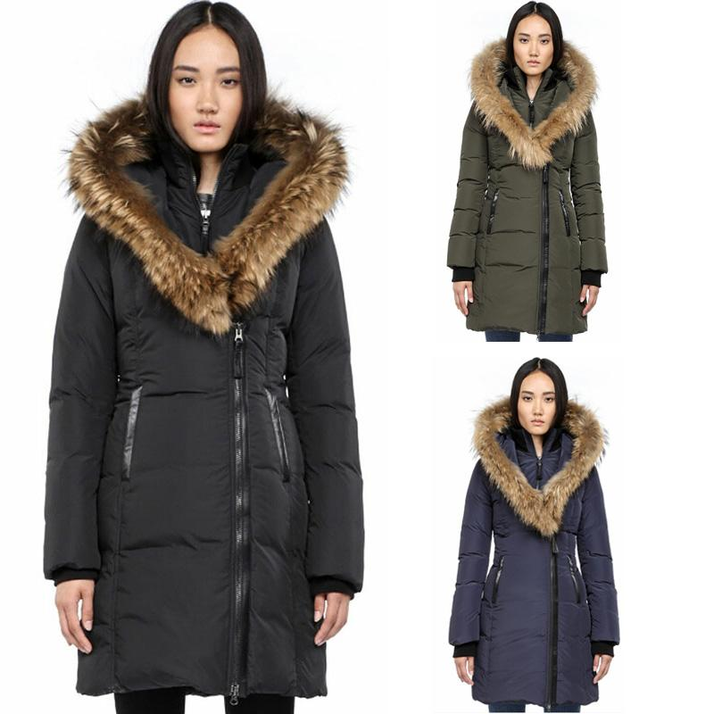 HOT SELL Canada Women's Brand Mac Kay-F4 Long Down Parka Coat With Fur Hood Raccoon Fur Collar Women's Coat Down Jacket for Women Cold Warm