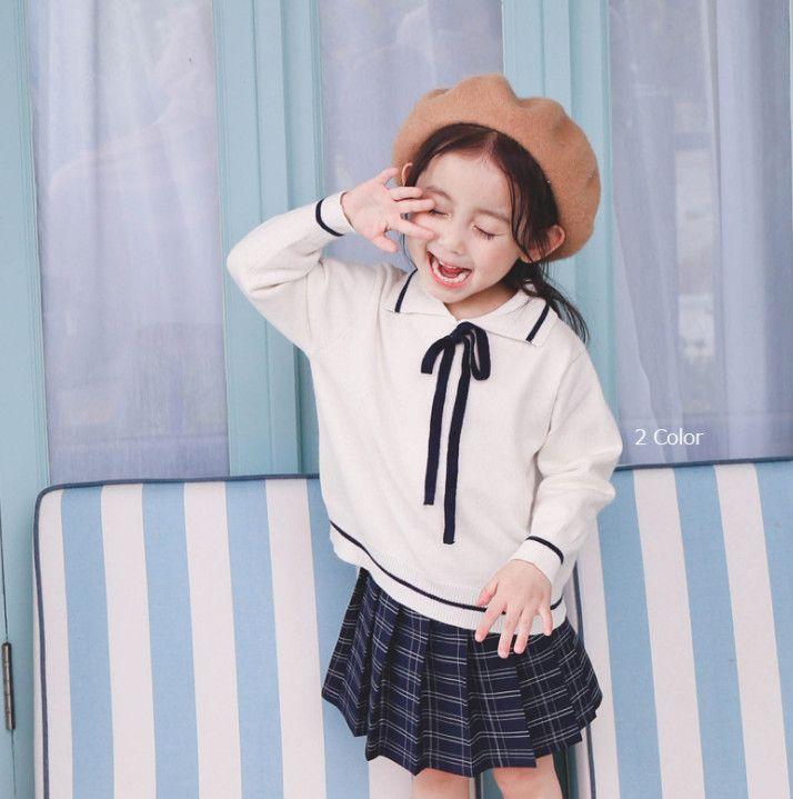 b6b6b80f382e 2019 Spring New Girls Princess Sweater Kids Stripe Lace Up Bows Tie ...