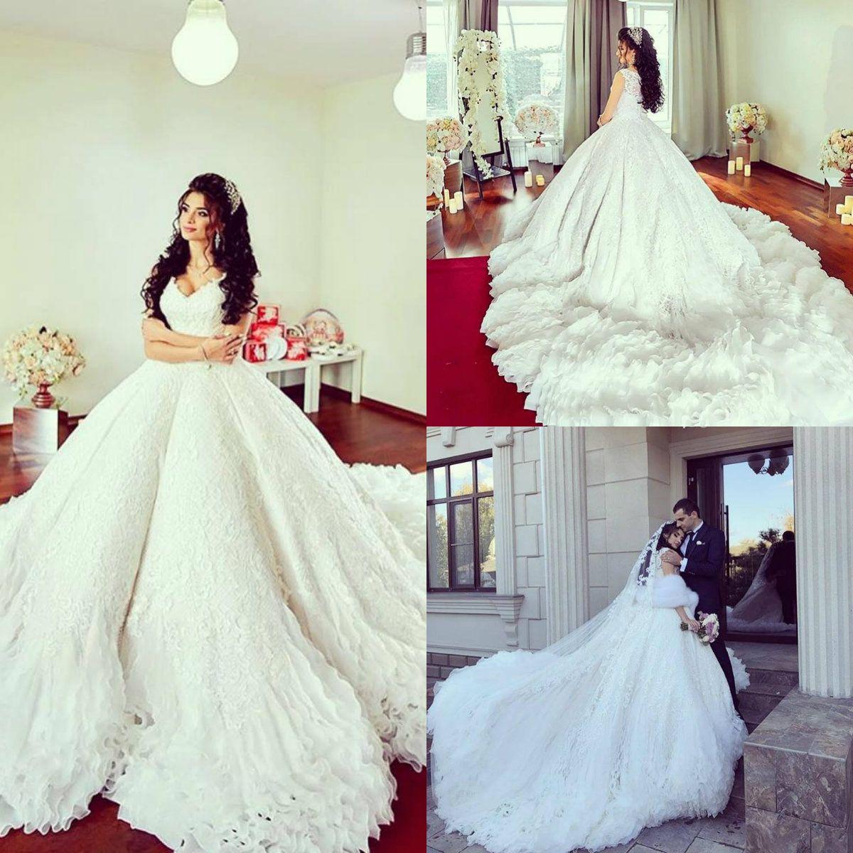 9ac8661b4fc Luxury Arabic Wedding Dresses Plus Size Lace Ball Gown Sleeveless ...