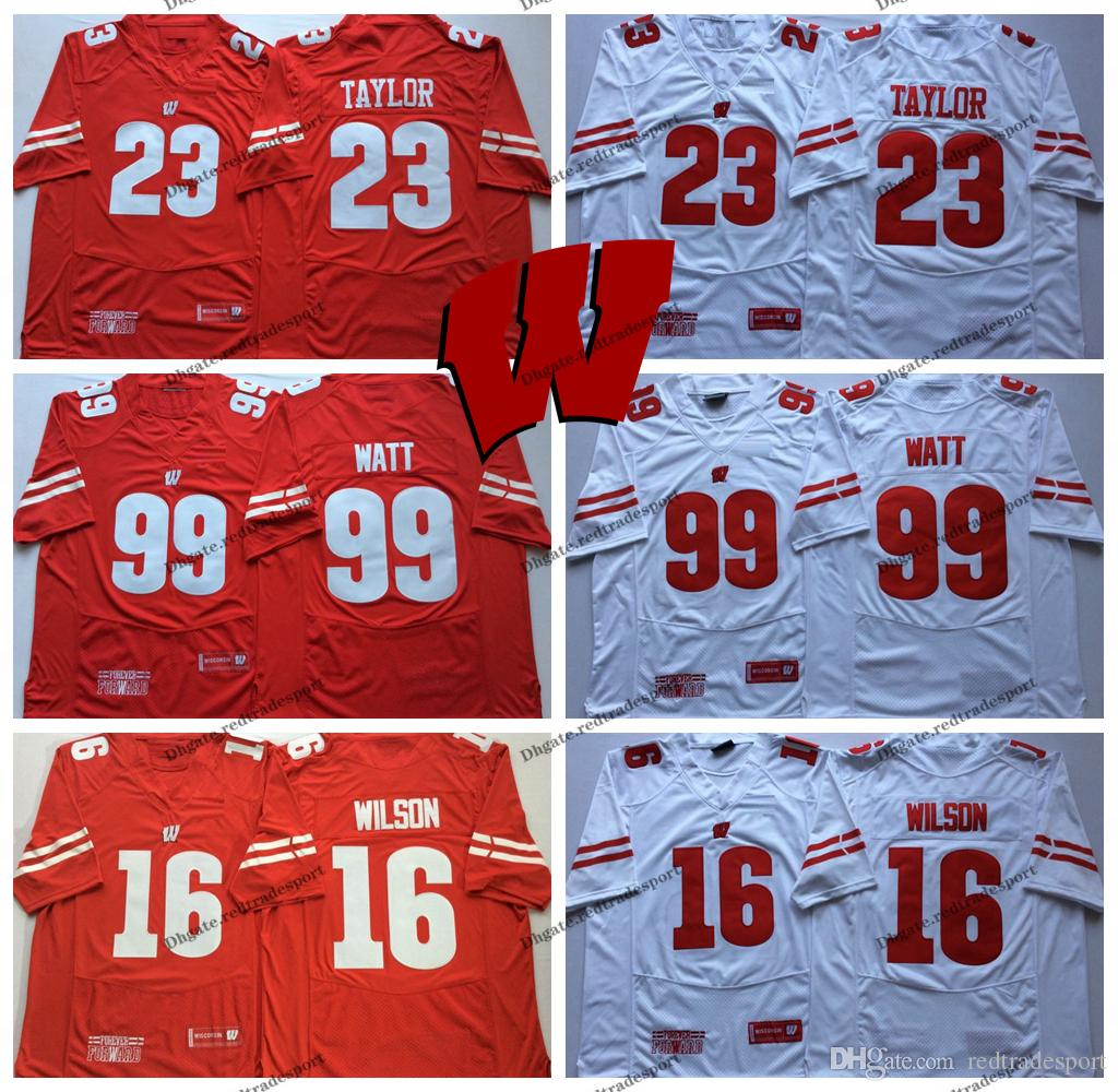 separation shoes b87c6 a75f7 2018 New Wisconsin Badgers 99 JJ Watt 23 Jonathan Taylor 16 Russell Wilson  College Football Jerseys Mens Home Red University Football Shirt