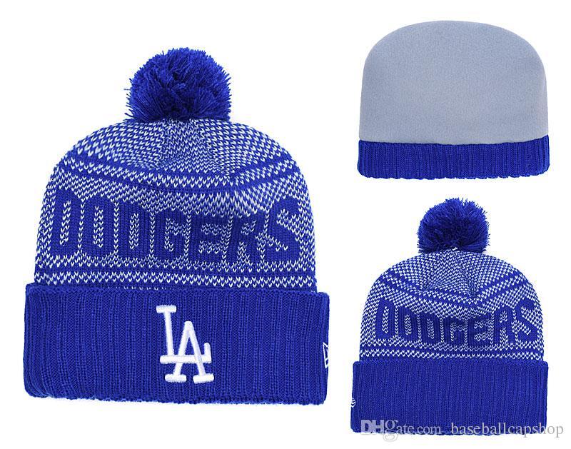 b61510540da52 NEW Men S Los Angeles Dodger Knitted Cuffed Pom Beanie Hat Striped Sideline  Wool Warm Baseball Beanie Cap Men Women Bonnet Beanies Skull Hat Trucker  Hats ...