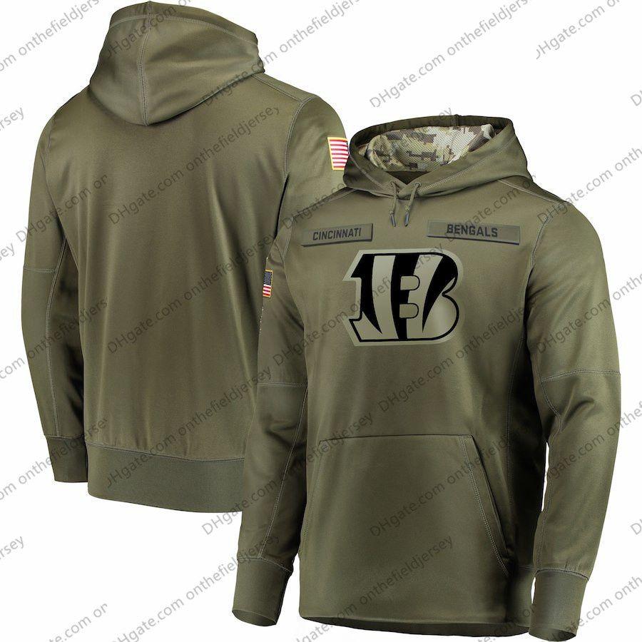 b7e6018c Mens Cincinnati Sweatshirt Bengals Hoodie 2018 Olive Salute to Service  Sideline Therma Performance Pullover Hoodie S-3XL