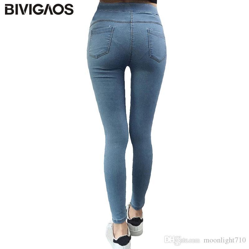 bfdb4221a2be Acheter BIVIGAOS Basic Skinny Jeans Femmes Cheville Crayon Pantalon Mince  Jeans Pantalon Élastique Jean Leggings Femme Coton Jeggings Jeans Femme De   31.59 ...