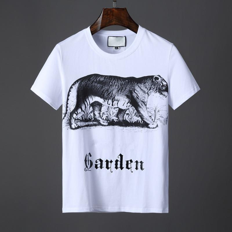 4bd7ade2 19ss Summer Letter Garden Tiger Print T Shirt Men Cotton Top Tees