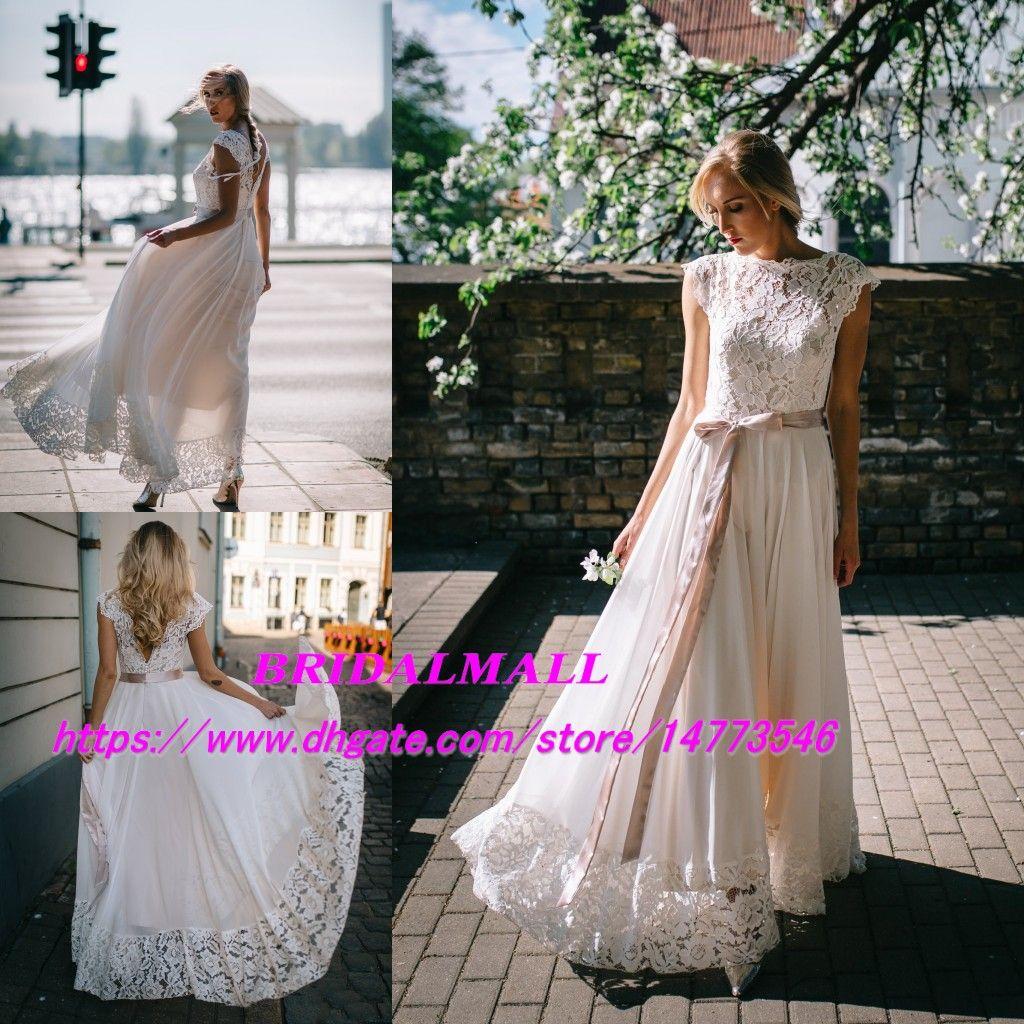 Simple Backless 2019 Ivory Chiffon A Line Beach Wedding Dresses With Sash Sheer Neck Lace Boho Bridal Gowns Outdoor Cheap Vestidos De Novia