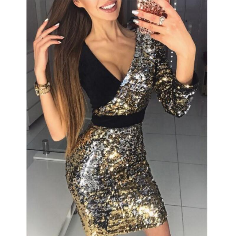 f5d161edb073 2018 New Arrvial Women Long Sleeve One Shoulder Bodycon Sexy Sequins Party  Evening Mini Club Dress Deep V Neck Short Dresses Summer Dress For Women  Women ...