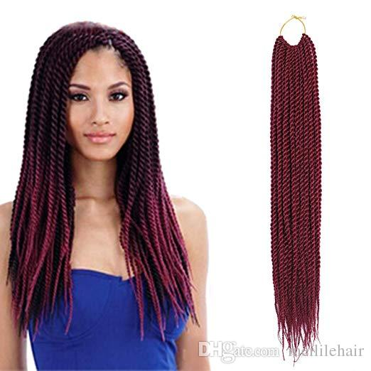 Senegalese Twist Crochet Hair 18inch Small Havana Mambo Twist Crochet Braiding Hair Synthetic Braids Hair Extensions For Black Women