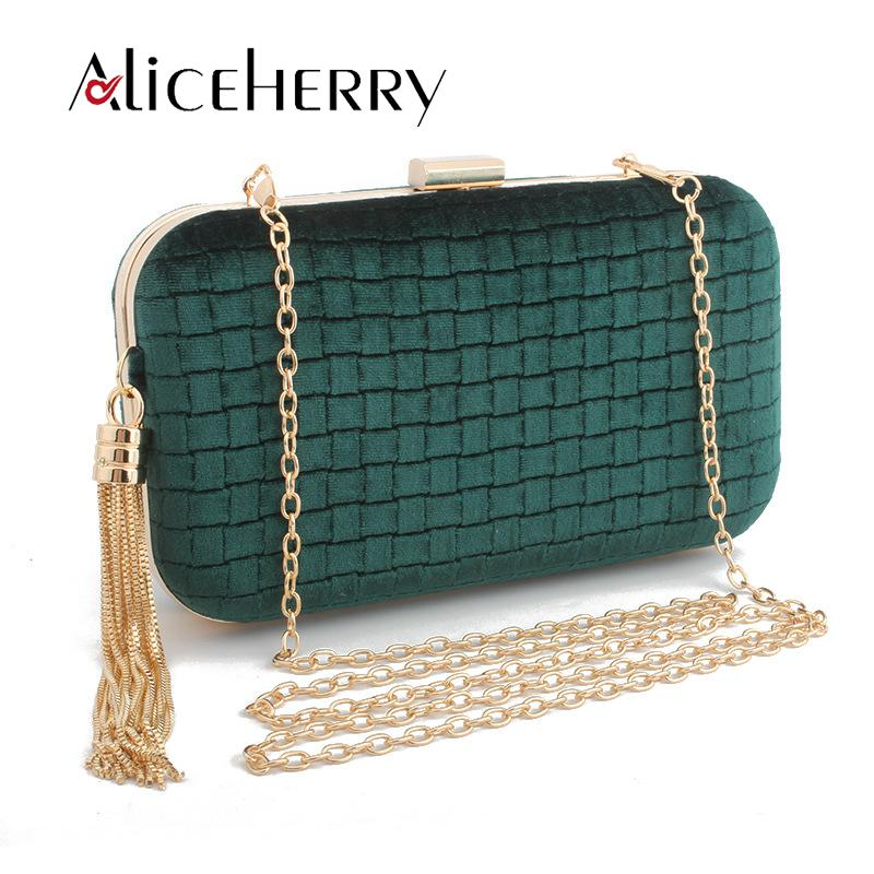 0ce1b0522ed03 New 2019 Top Grade Luxury Handbag Woman Bag Designer Fashion Velvet Diamond  Lattice Bags Ladies Clutch Tassels Evening Bag Branded Bags Handbag Sale  From ...
