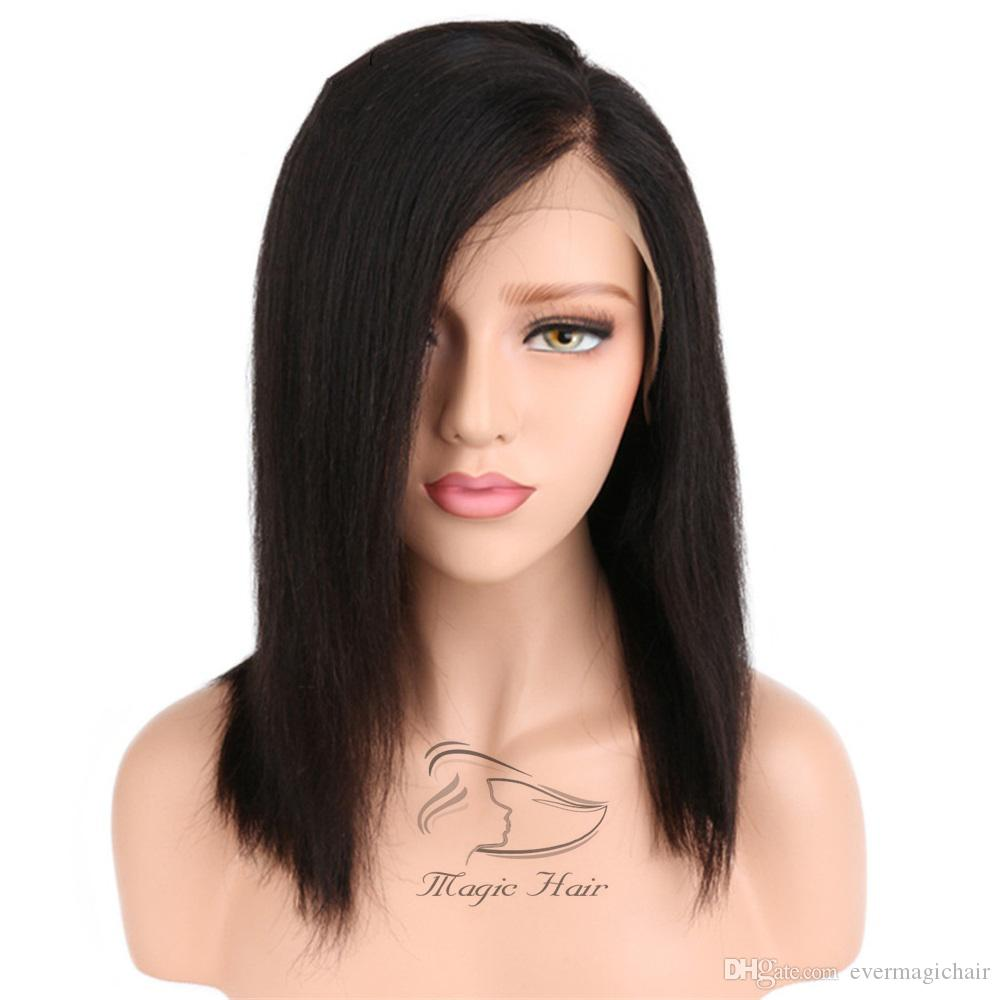 Lace Front Wigs Hair Extensions & Wigs Modest Peruvian Remy Hair Bob Short Wig 180% Density Front Lace Wig Light Brown Color Straight Bob Wigs