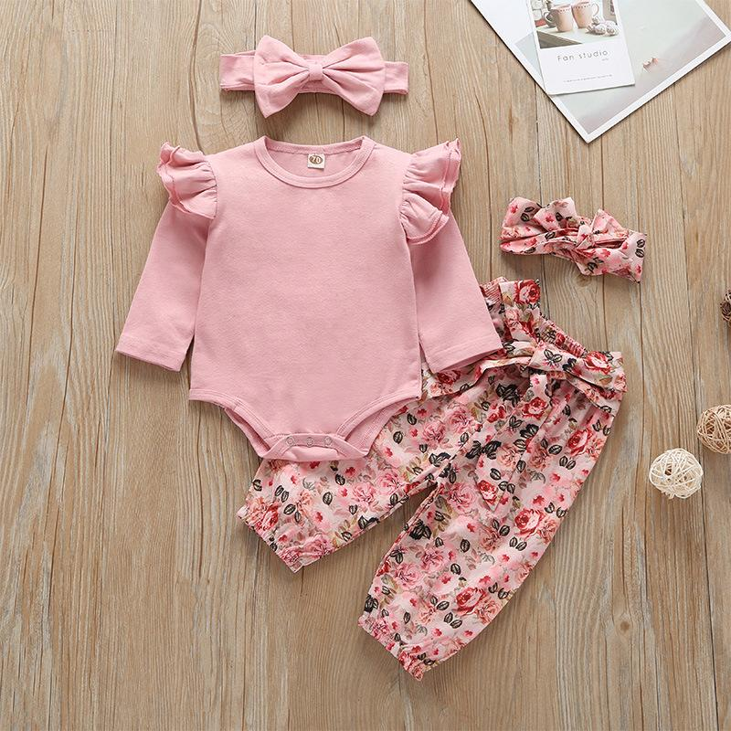 Baby Girls Long Sleeves Rompers+Flower Pants Suits Fall 2019 Kids Boutique Clothing 0-24m Infant Toddler Cotton 3 PC Set with Headbands