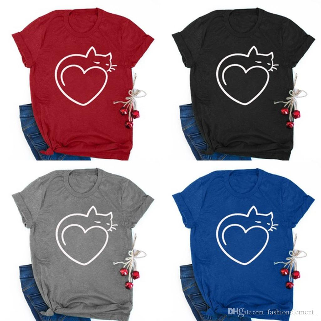 Cat Print T-shirt Bottoming Shirt New Casual Tees Summer Female T Shirt Cute Cropped Top In Europe and America